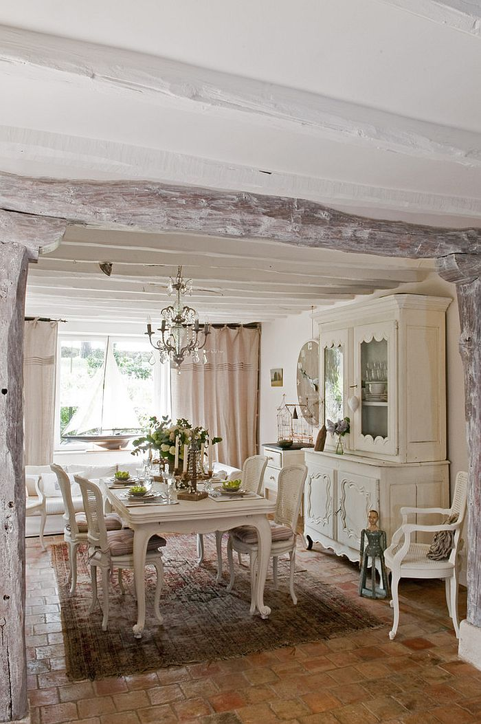 All-white dining room delivers a tranquil French Country look [Design: Catherine Sandin]