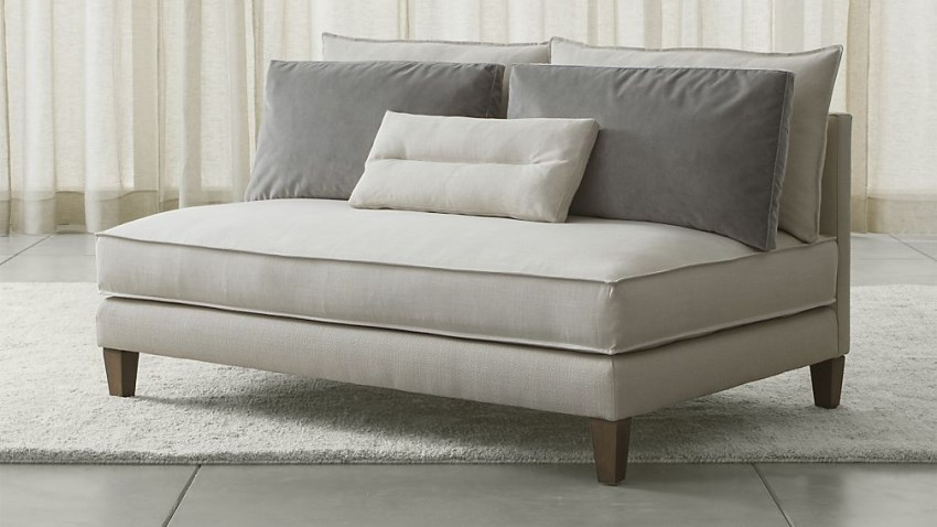 Armless loveseat from crate barrel decoist - Sleek sofas small spaces decor ...