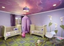 Awesome ceiling in purple shapes the perfect room for your little princess 217x155 20 Awesome Kids' Bedroom Ceilings that Innovate and Inspire