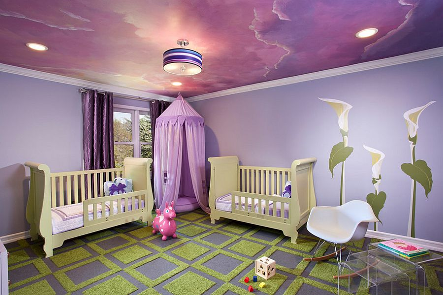 Awesome ceiling in purple shapes the perfect room for your little princess [Design: Emc2 Interiors]