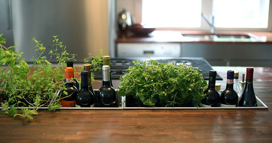 Awesome kitchen island combines the wine rack with herb garden [Design: Bonfigli Design]