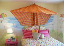 Beach umbrella used as canopy in the little girls' bedroom