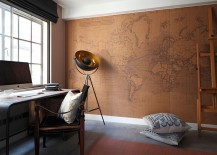 Beautiful home office design with a world map backdrop