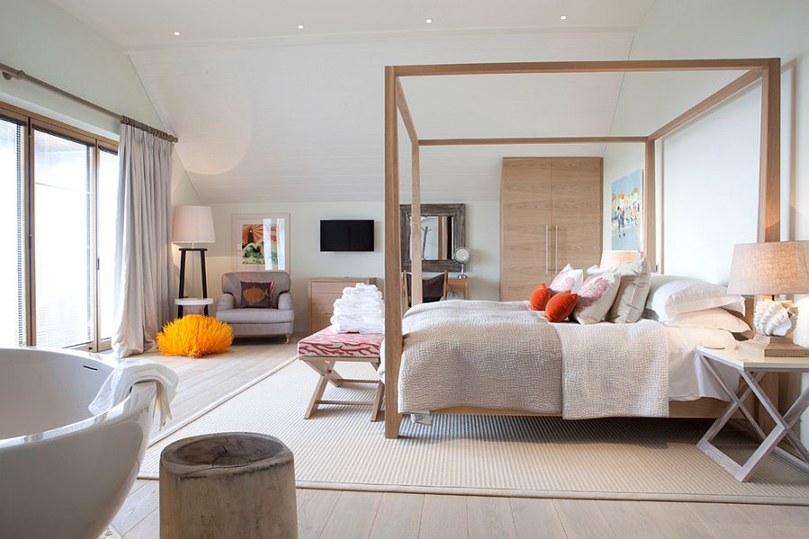 Beautiful master bedroom with a relaxed Scandinavian style and pops of color