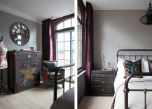 Bedside table and bedroom decor with classic industrial charm