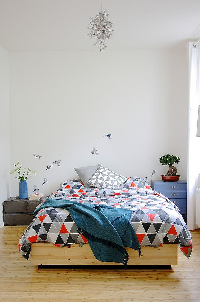 Bird decal in the backdrop steals the show in this classy bedroom [From: Holly Marder]