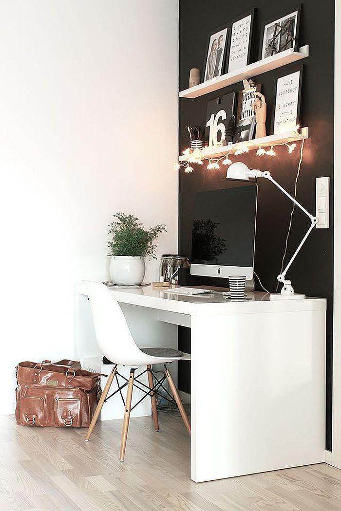 Black and white home office idea with Nordic style