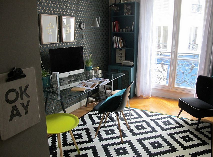 Black and white rug in the home office adds pattern to the room [Design: Raphaëlle Levet Home Stylist]