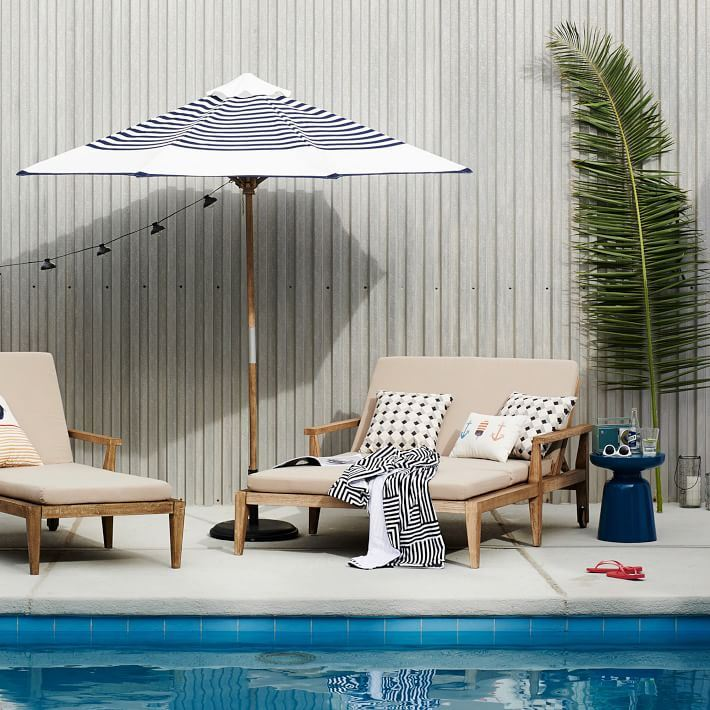 Blue and white striped umbrella from West Elm
