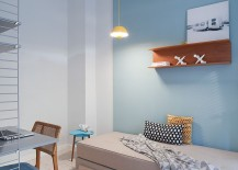 Blue as an accent hue works beautifully in Scandinavian style interiors