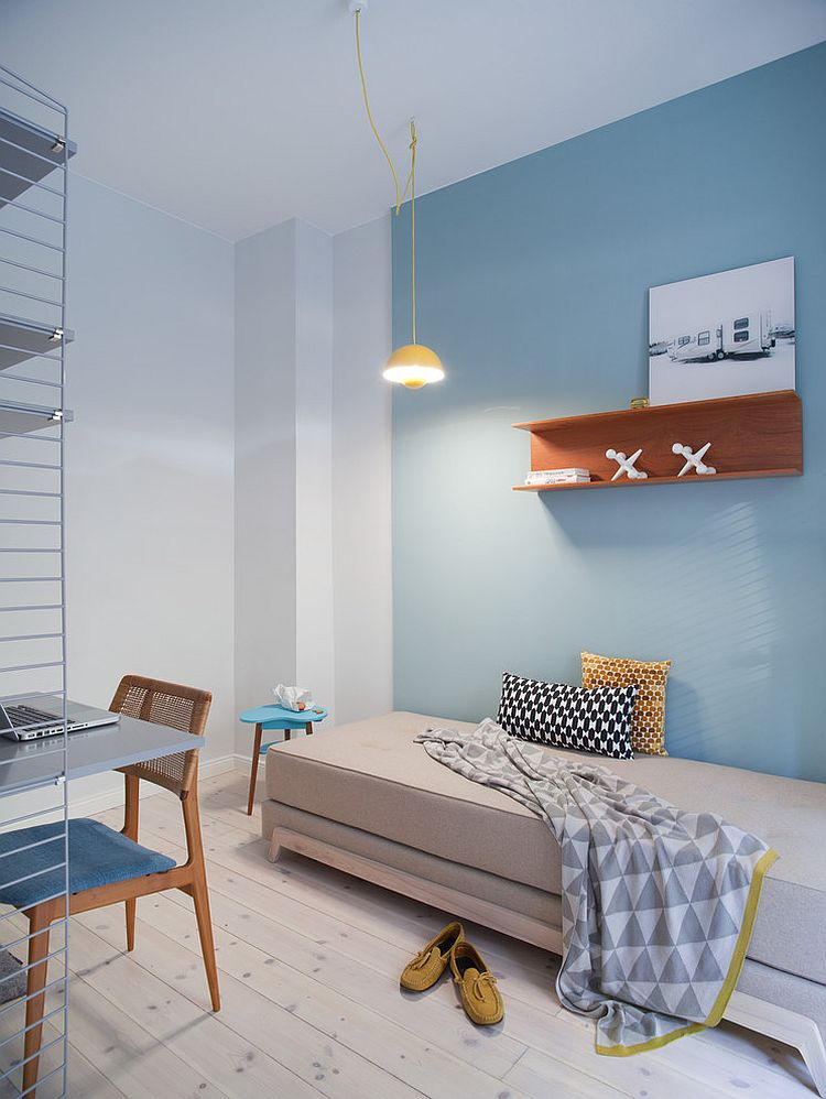 Blue as an accent hue works beautifully in Scandinavian style interiors [Design: VINTAGENCY]