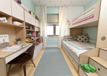 Blue narrow shared bedroom