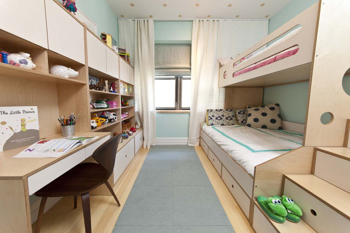 View in gallery Blue narrow shared bedroom. 8 Cool Kids Rooms Your Children Won t Mind Sharing