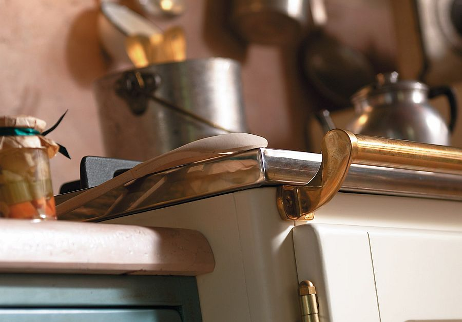 Brass and stainless steel features inside the country chic kitchen