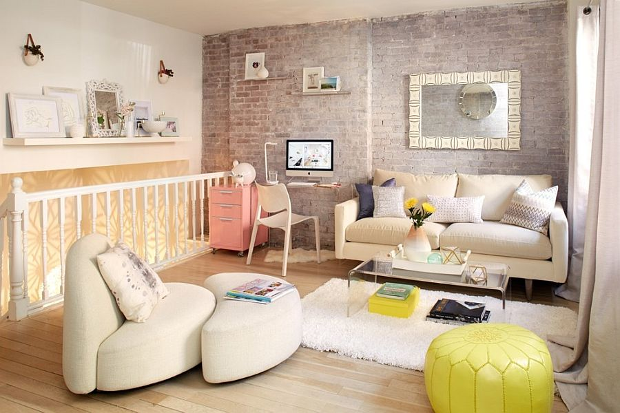 Brick living wall and decor in white and pastel hues for the shabby chic living room