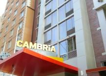 Cambria Facade 217x155 NYCs Brand New Cambria Hotel is a Modern, Floral Delight