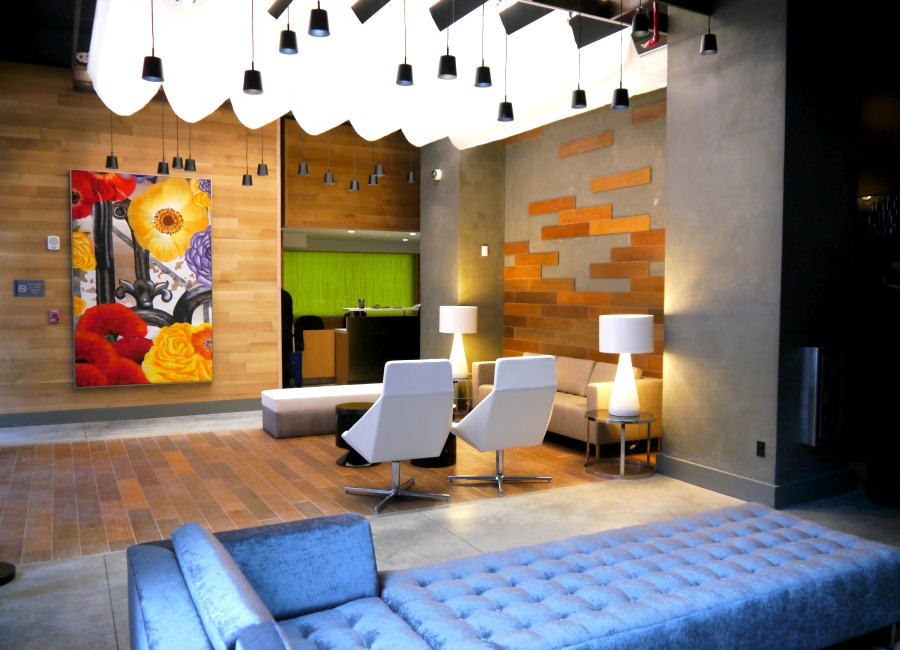 The modern-fun lobby area