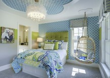 Ceiling design adds to the cheerful vibe of the room