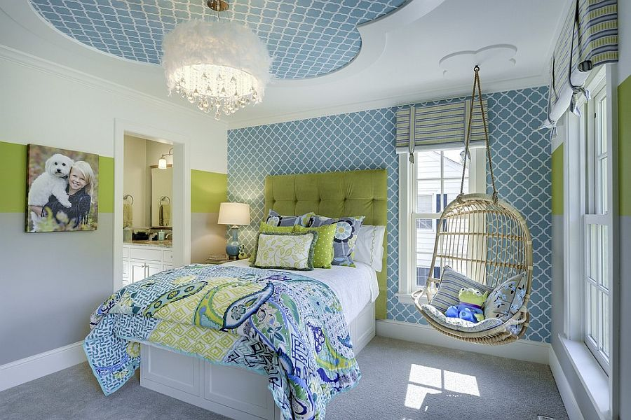 Ceiling design adds to the cheerful vibe of the room [Design: Great Neighborhood Homes]