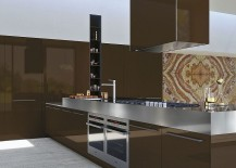 Central hood becomes the focal point of this kitchen composition