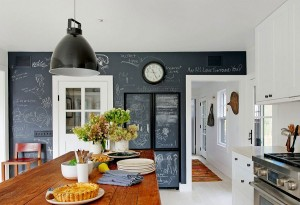Chalkboard wall in the kitchen gives it a playful, modern twist