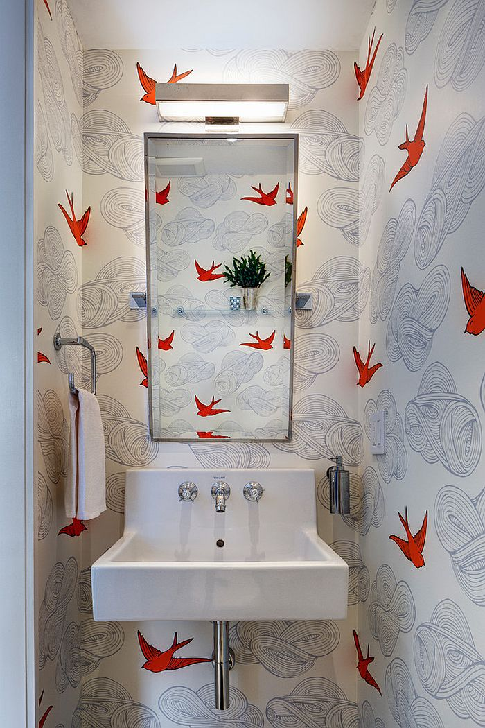 Charming small powder room decorating idea [Design: Barker Freeman Design Office Architects pllc]