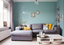 Chic living room with soothing ambiance and crate coffee table