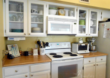 Chicken wire kitchen cabinet makeover