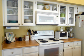 Chicken wire kitchen cabinet makeover  8 Low-Cost DIY Ways to Give Your Kitchen Cabinets a Makeover Chicken wire kitchen cabinet makeover 270x180