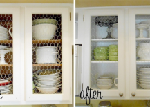 Chicken wire kitchen cabinet makeover before and after