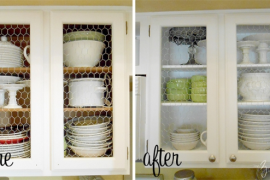 Chicken wire kitchen cabinet makeover before and after  8 Low-Cost DIY Ways to Give Your Kitchen Cabinets a Makeover Chicken wire kitchen cabinet makeover before and after 270x180