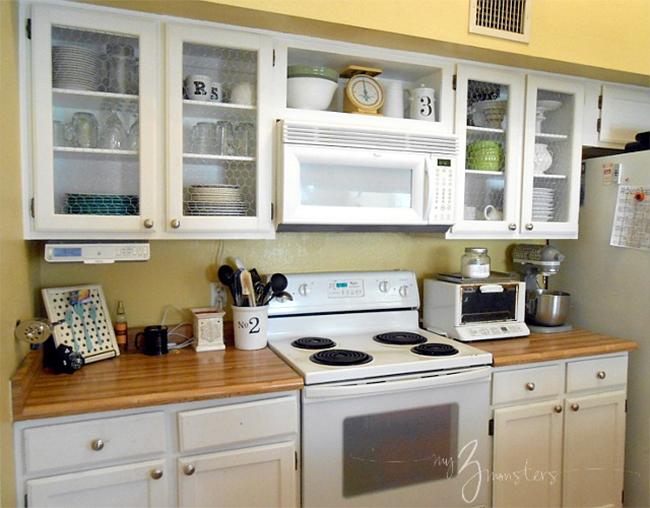 Chicken wire kitchen cabinet makeover