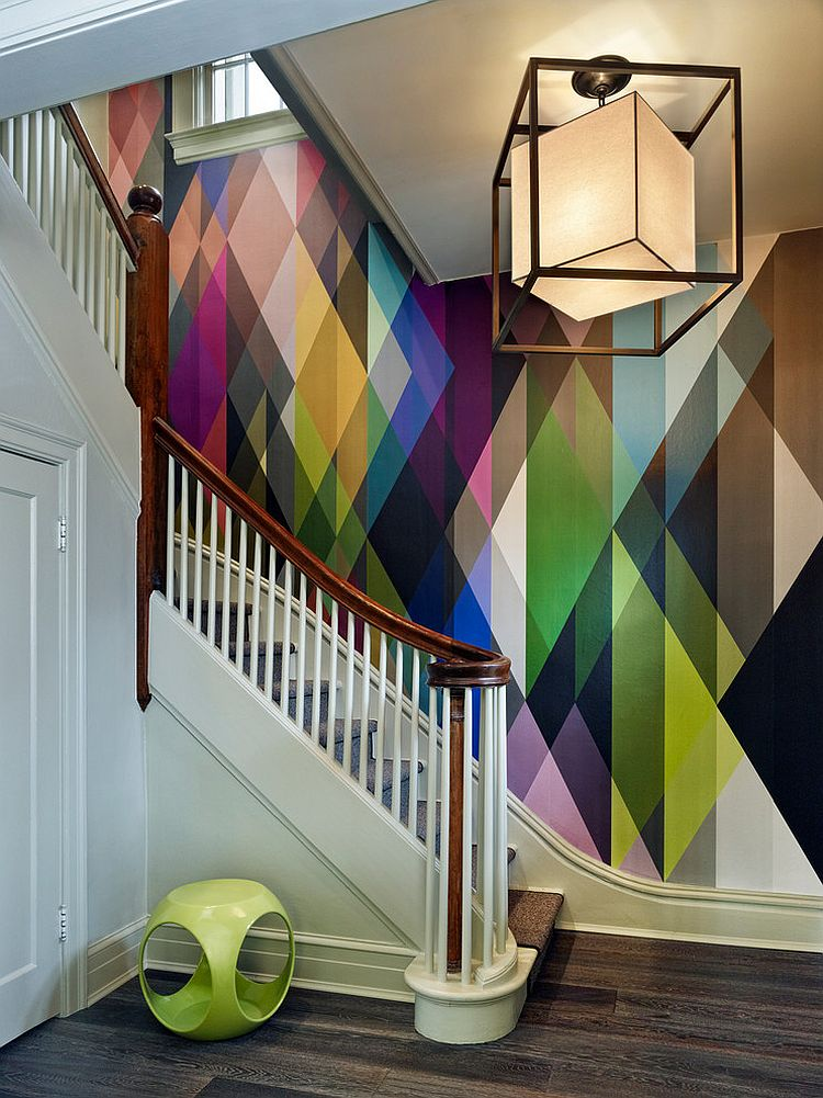 Circus wall panel wallpaper adds color to the staircase design [Design: Gruber Home Remodeling]
