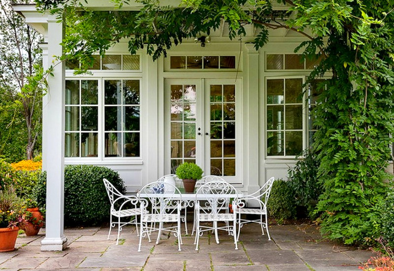 view in gallery green and white always works beautifully together in outdoor settings attractive rod iron patio