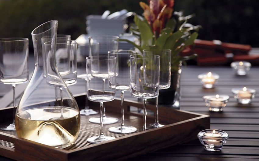 Clear carafe from Crate & Barrel