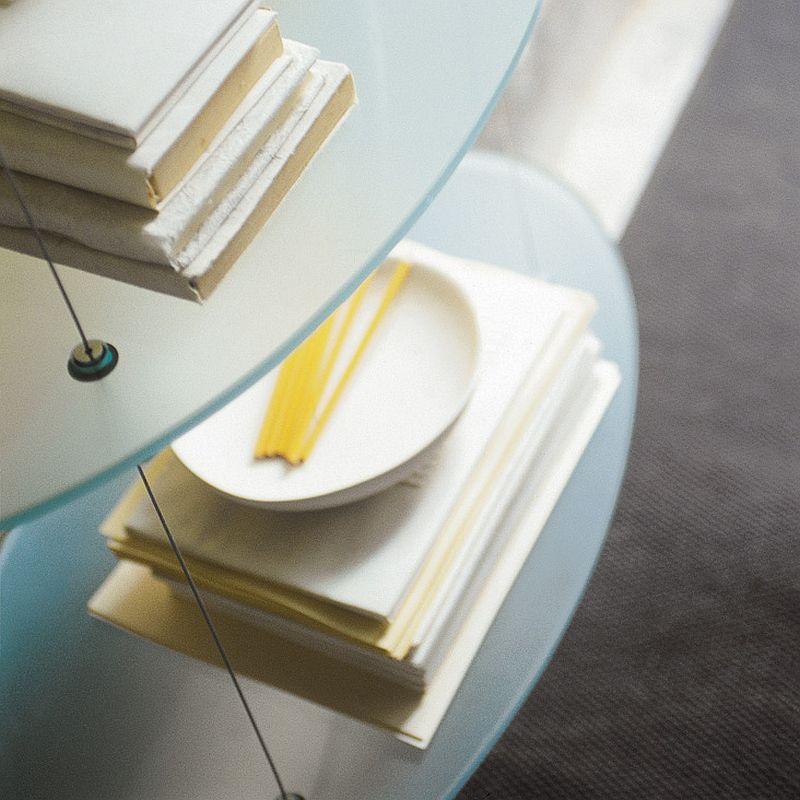 Closer look at the frosted glass bookshelves from Cattelan Italia