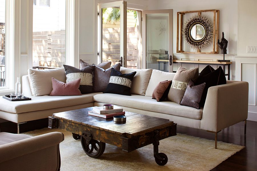 Coffee table brings a touch of vintage charm to the living room [Design: Geremia Design]