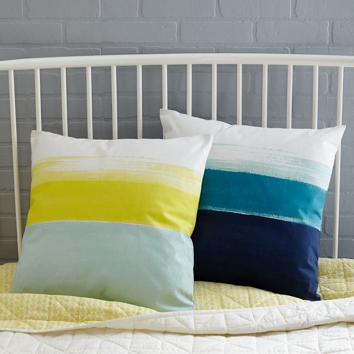 Colorblocked brushstroke pillows from West Elm