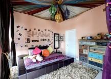 Colorful bohemian style teen bedroom