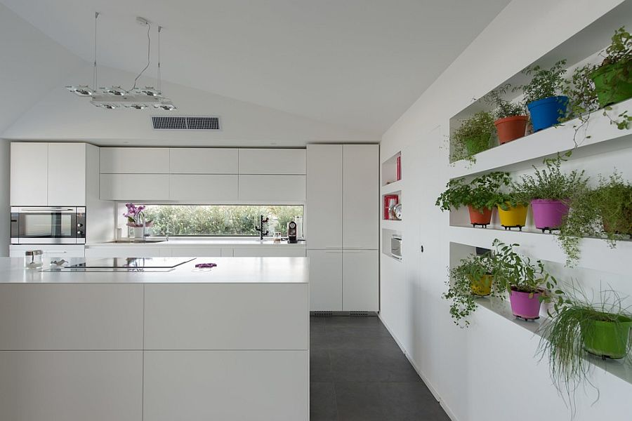 Colorful herb garden brings liveliness to the white contemporary kitchen [Design: Mobilificio Marchese]