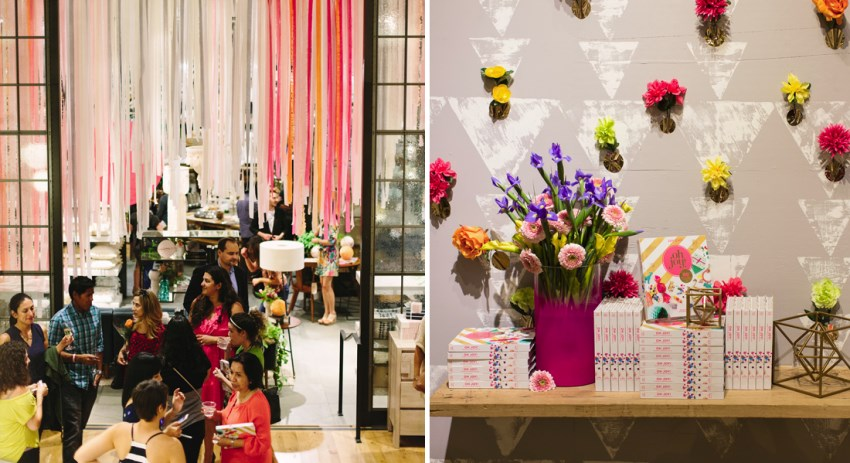 Colorful wall and ceiling accents at an Oh Joy! book party