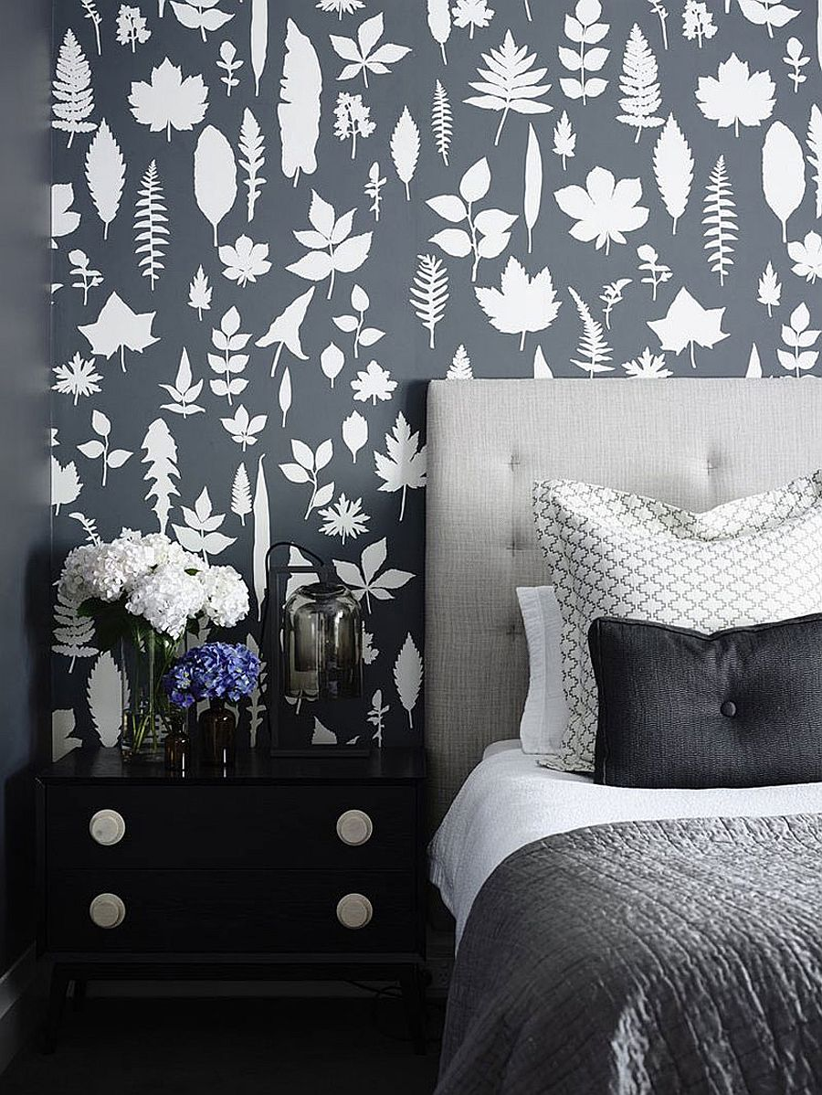 Contemporary bedroom with wallpaper and dark, moody look