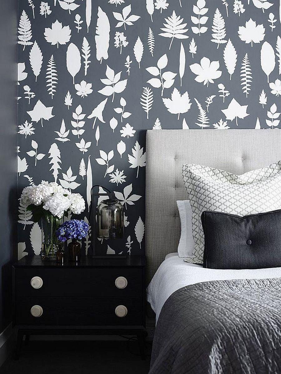Contemporary bedroom with wallpaper and dark, moody look