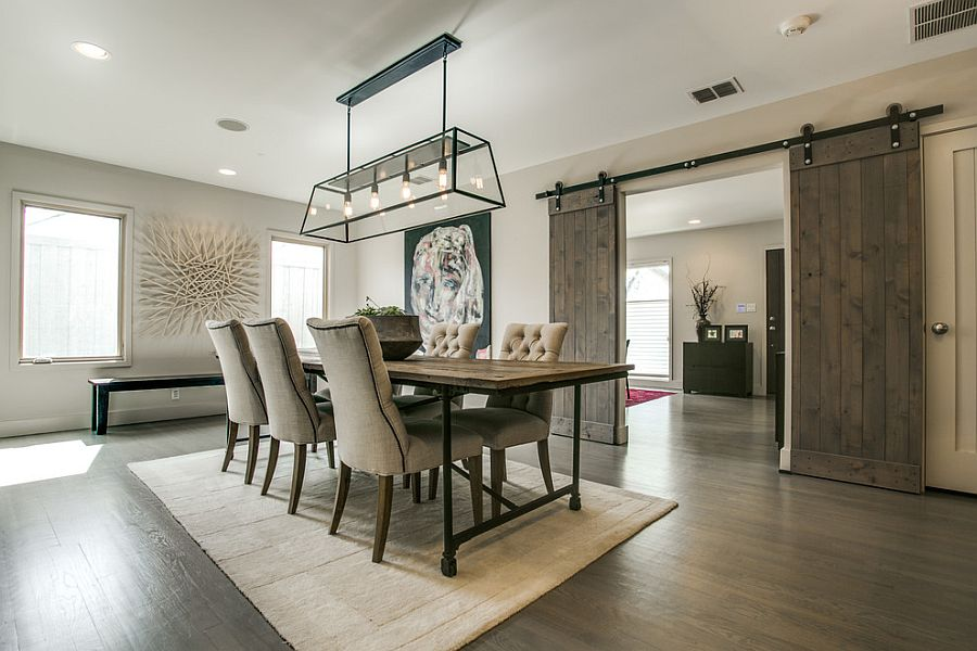 Contemporary farmhouse style shapes the formal dining room [Design: Olsen Studios]