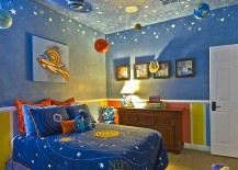 Contemporary kids' bedroom with hand-painted ceiling that brings the magic of night sky indoors
