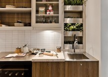 Contemporary kitchen with an ergonomic herb garden