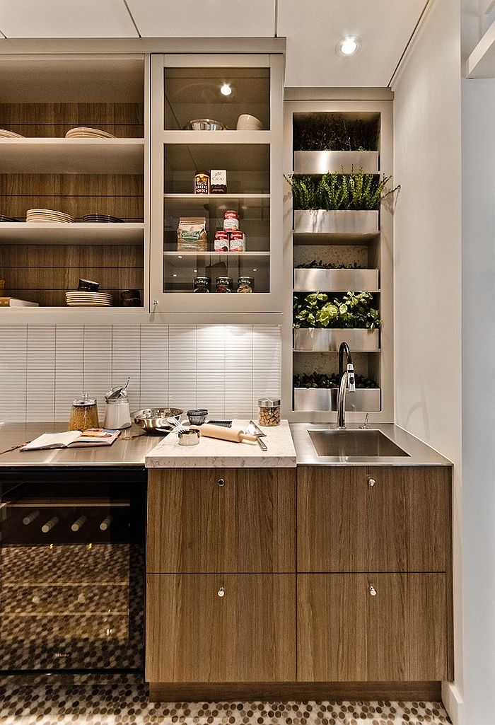 Contemporary kitchen with an ergonomic herb garden [Design: Tendances Concept]