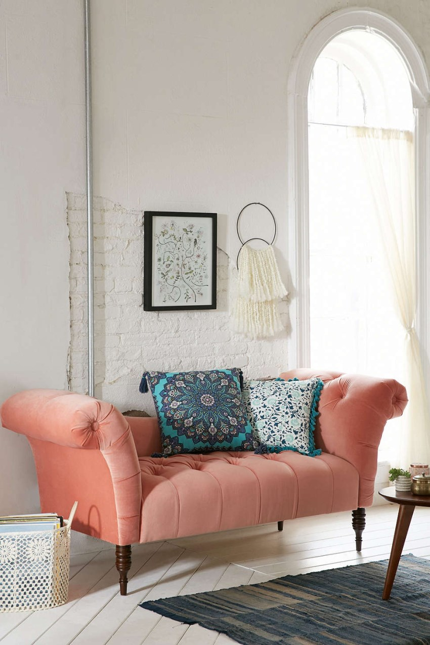 Coral tufted fainting sofa from Urban Outfitters