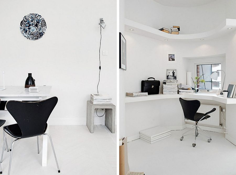Corner workspace makes clever use of available space [From: Alvhem brokerage and Interior]
