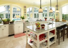 Counters bring gray in a subtle fashion to the tropical kitchen